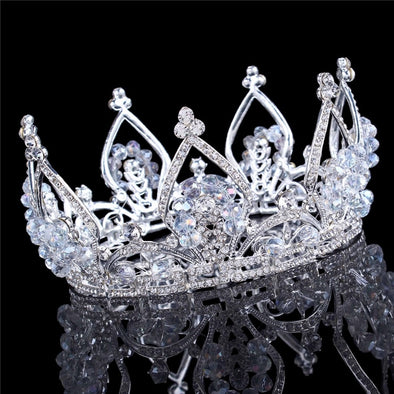 Luxury Full Crown Clear Rhinestone Crystal Silver Gold Plated Tiara Pageant Bridal Prom Wedding Cosplay