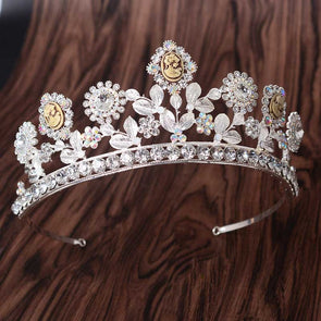 Gold Silver Leaf Rhinestone Bride Tiara and Crown Crystal Zircon Diadem Wedding Hair Jewelry Accessories