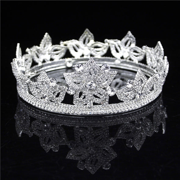 Silver Floral Queen Tiaras and Crowns Wedding Hair Jewelry Accessories Bridal Tiara