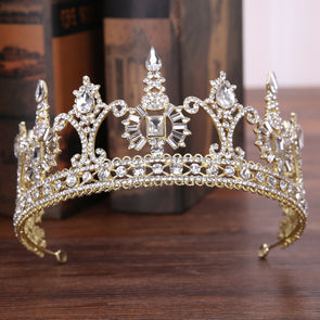 Luxury Tower Crystal Rhinestone Crown Tiara Headdress Gold Bride Queen Cosplay Wedding Hair Accessories Jewelry