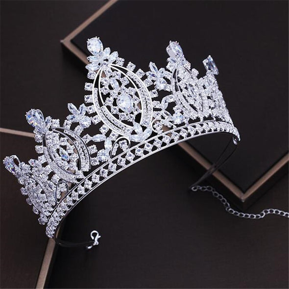 Rhinestone Crown for Royal Queen Bridal Tiaras Princess Big Eye Diadem Pageant