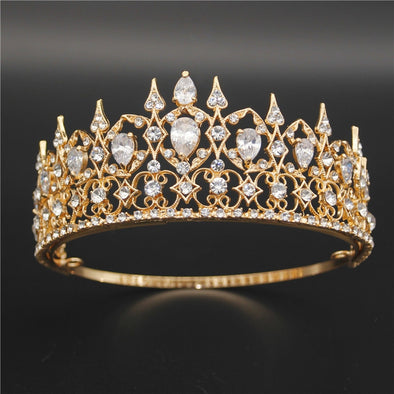 Luxurious Wedding Crown Tiara for Queen Fashion Zircon Diadem Gold Cosplay