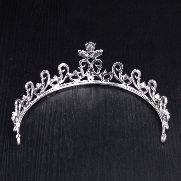 Gold Silver Crystal Rhinestone Crown Wedding Queen Tiara Hair Accessories