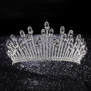 Shining Clear Crystal Silver Crown Bridal Tiaras Wedding Jewelry Cosplay Ice Queen Crown
