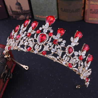 Gold Silver Luxury Big Crystal Tiaras Crystal Rhinestone Pageant Crowns Baroque Wedding Hair Accessories Cosplay