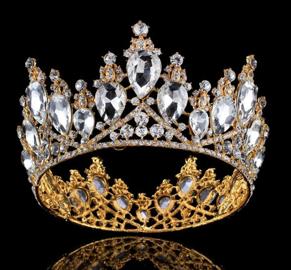 Luxury Baroque Crystal Tiaras Crowns Gold Silver Rhinestone Bridal Wedding Queen - Cosplay Infinity