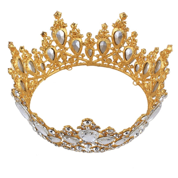 Luxury Baroque Crystal Tiaras Crowns Gold Silver Rhinestone Bridal Wedding Queen