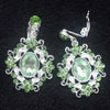 Baroque Green Crystal Tiara Earring Set Silver Bridal Diadem Crown Earring Cosplay