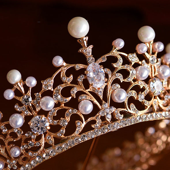Top Quality Royal Cubic Zirconia Round Tiara Crown Silver Gold Crystal Pearl Wedding Hair Accessories Queen Cosplay