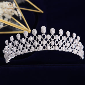 High Quality Luxurious Full Zircon Tiara Queen Bridal Hair Jewelry Wedding Hair Accessories Crystal Bridal Tiaras Crowns
