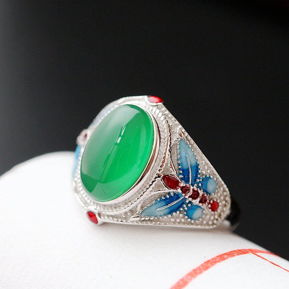 925 Sterling Silver with Natural Chalcedony Ring Cloisonne Butterfly - Cosplay Infinity