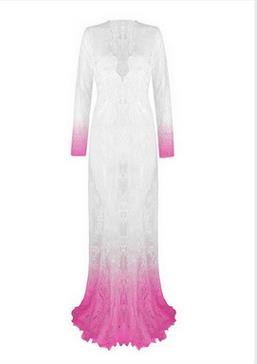 European Style Womens Sexy Lace Embroidery Maxi Solid White Dress Long Sleeve Deep V Neck Plus Size S-4XL
