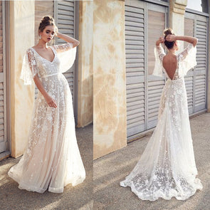 Ruffles Sleeve White V-Neck Maxi White Dress Lace Sequin Sexy Summer Dress