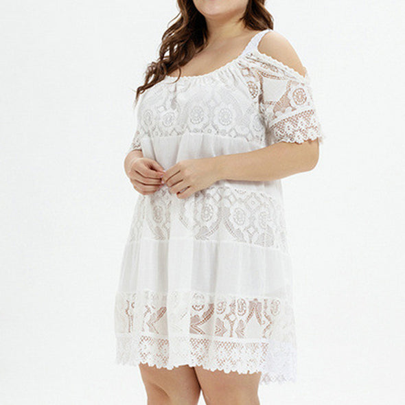 New Summer Sexy Women Plus size Solid Short Sleeve O-Neck Lace Hollow out Dress 3XL