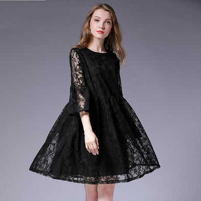Lace Dress Loose Casual Elegant Party Dresses Flare Sleeves Sexy Hollow Out A-line dress Plus size L-4XL