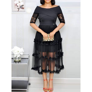 Women Lace Dress Plus Size Elegant Party Sexy Off Shoulder Hollow Mesh