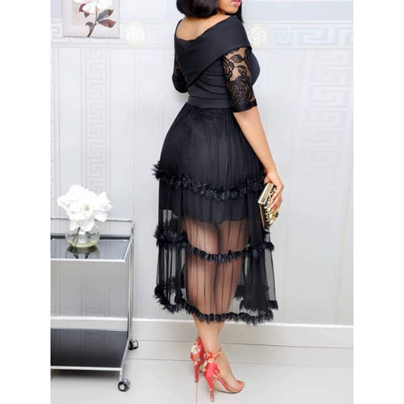 Women Lace Dress Plus Size Elegant Party Sexy Off Shoulder Hollow Mesh - Cosplay Infinity