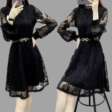 New Women Lace Hollow Out Dress Feminine Embroidery Sexy Preppy Style Plus Size 3XL - Cosplay Infinity