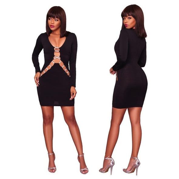 Sexy Hollow Out V Neck Sequin Bodycon Dress Black/White Long Sleeve Mini Club Dresses Women Plus Size