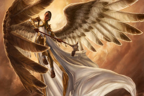 girl angel with huge wings and armor custom canvas fabric poster wall decor