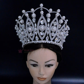 Pearl Pageant Crown 6 Inches Adjustable High Grade Tiara Australian Crystal Hand Made