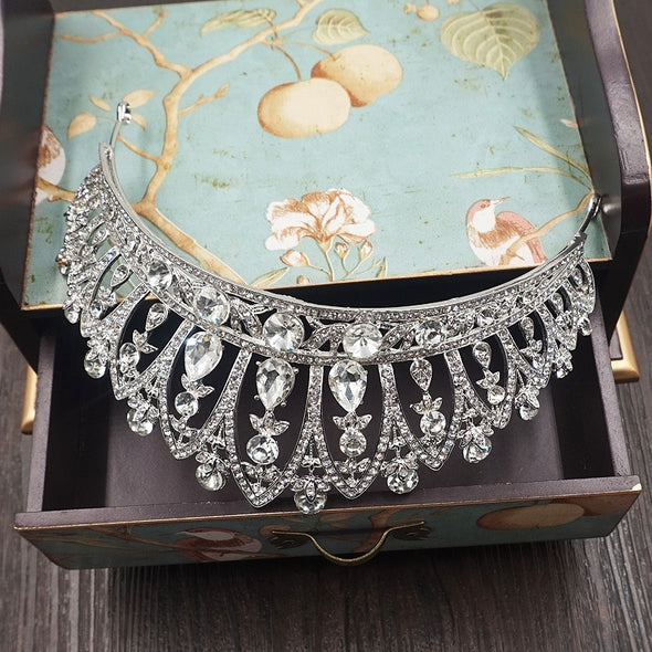 Vintage Baroque Rhinestone Bridal Tiaras Crown for Bride Headbands Wedding Hair Accessories