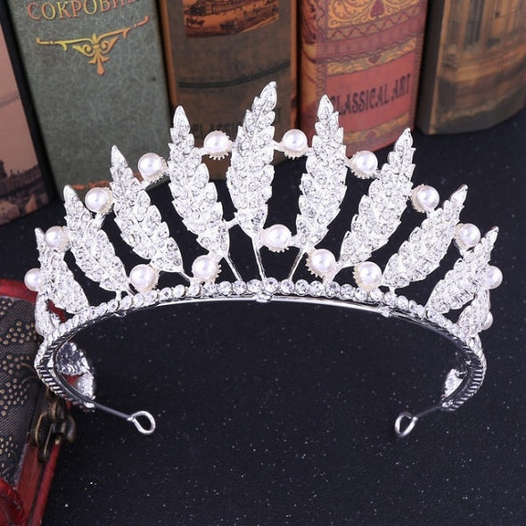 Baroque Luxury Crystal Leaves Pearl Bridal Tiaras Crown Gold Silver Rhinestone Wedding Hair Accessories
