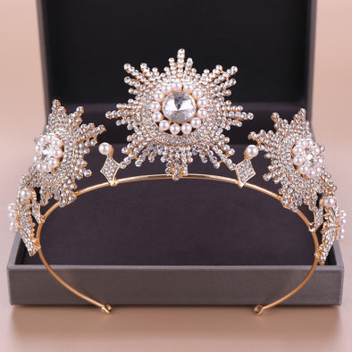 Baroque Gold Crystal Pearls Bridal Tiaras Crowns Rhinestone Pageant Diadem Wedding Hair Accessories - Cosplay Infinity