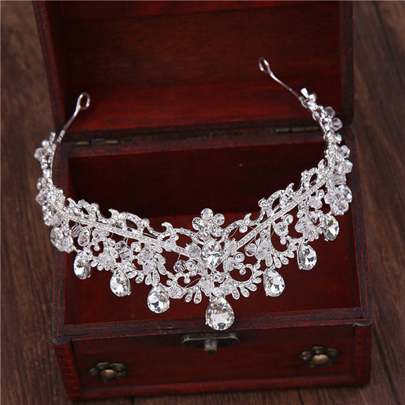 Luxury Crystal Beaded Flower Princess Crown Tiara Handmade Diadem Bridal Hair Accessories