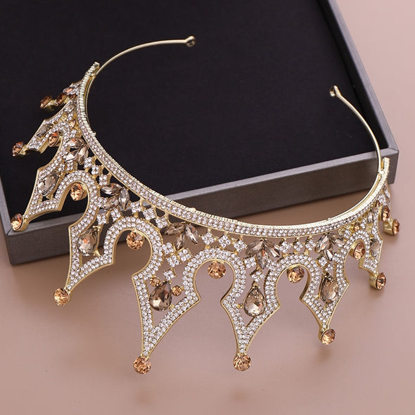 Gold Crystal Tiara and Crown Bridal Headwear Hair Jewelry - Cosplay Infinity