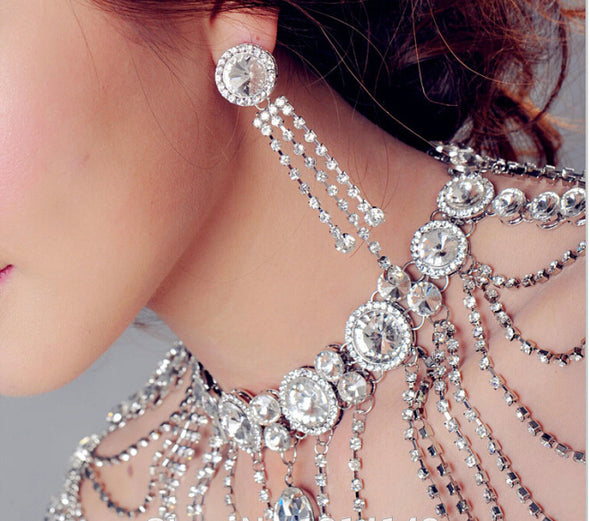 Bridal Shoulder Chains Silver Crystal Big Necklaces Bridal Chain Vintage Wedding Accessories - Cosplay Infinity