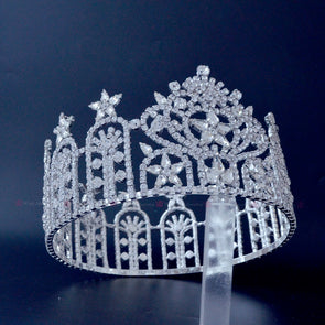 Beauty Pageant Full Round Crown Austrian Rhinestone Crystal High Grade Tiaras