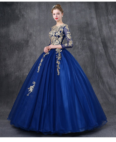 royal blue embroidery ball gown long medieval dress Renaissance Gown princess gown Victorian/Marie Antoinette