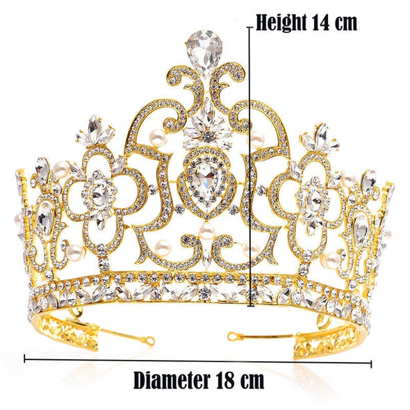 5 Colors Large Size Pageant Crown Rhinestone Crystal Tiaras Crowns Bridal Wedding Hair Jewelry