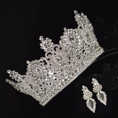 New Luxury Round Silver Crystal Large Crown Earrings Set Elegant Bride Wedding Handmade Rhinestone Inlaid Headdress - Cosplay Infinity