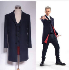 Doctor Who 12th Dr. Dark Blue Coat Vest Set Cosplay Costume S-XXL