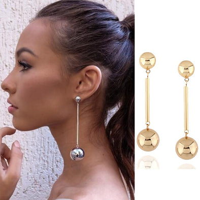 Long Gold Silver Ball Dangle Drop Earrings Modern Jewelry