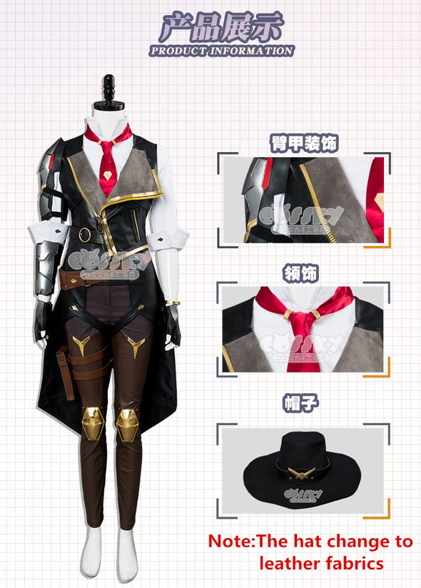 Anime! Hot Game OW Ashe Gothic Deadlock Rebels Military Uniform Cosplay Costume Women Halloween Carnival Outfit