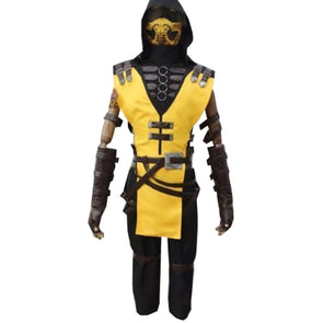 Game Mortal Kombat X Scorpion Hanzo Hasashi Cosplay Costume Adult Full Set Custom Made OUTFIT