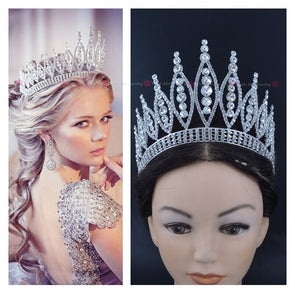 Crowns Tiaras Miss Pageant Queen Austrian Rhinestone Crystal Hair Accessories Full Round Crown - Cosplay Infinity