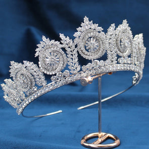 Silver Tiaras Cubic Zircon Clusters Lush Bridal High Quality Crown Wedding Hair Accessories