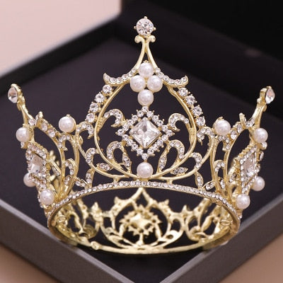 Baroque Bridal Crown Crystal Round Princess Tiara Pearls Wedding Hair Accessories Headband - Cosplay Infinity