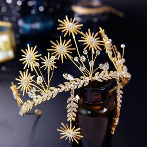 Gold Star Bridal Tiaras Crowns Sunflower Rhinestone Wedding Hair Accessories Cosplay - Cosplay Infinity