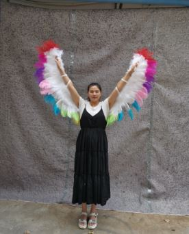 Rainbow Bendable Large Angel Feather Wings Adult Cosplay Costume