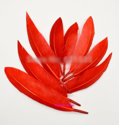 200PCS/LOT! Curved Goose Quill Feathers pointy tip dyed RED loose stiff feathers - Cosplay Infinity