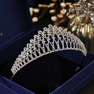 European Brides Silver Full Zircon Tiaras Crown Zirconia Hairbands Cosplay - Cosplay Infinity