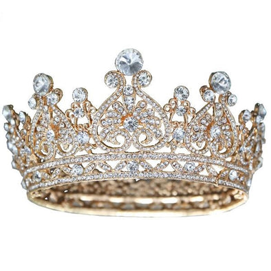 Gold Tiara Crown Crystal For Bride Hair Accessory Cosplay King Queen - Cosplay Infinity