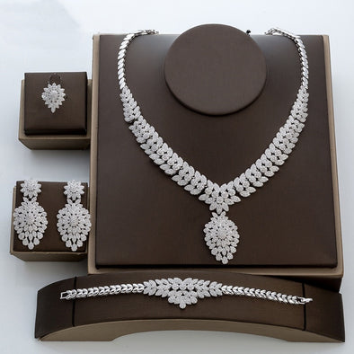 4pcs Bijoux Necklace Zircon Wedding Jewelry Sets