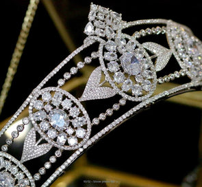 European Vintage Crystal Zircon Wedding Crown Tiara High Quality