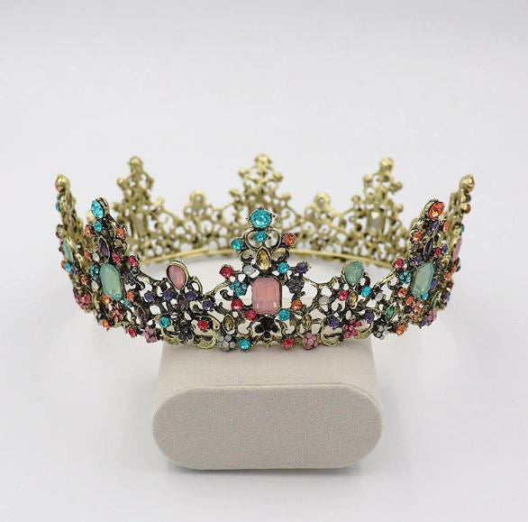Vintage Gothic Bridal Tiara Crown Pink Blue Stones Bronze Wedding Crown